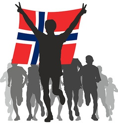 Winner with the Norway flag at the finish vector image vector image