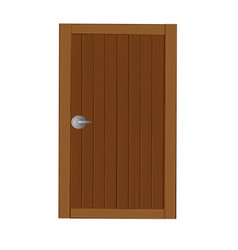 Wooden gates in dark brown cartoon vector