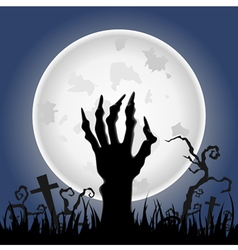 Zombie hand on full moon vector