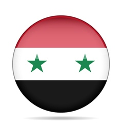 Flag of syria shiny round button vector