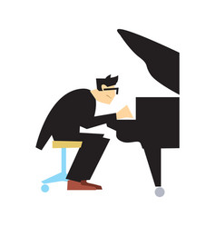 Musician playing piano isolated vector