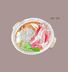 sukiyaki pot objects drawing graphic design vector image