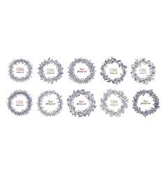 floral round wreaths set hand drawn frames vector image