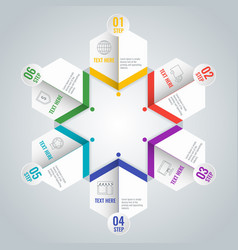 business infographic scheme with six steps in star vector image