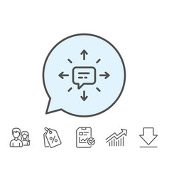 Conversation line icon chat messages or sms vector