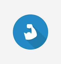 Muscle arm flat blue simple icon with long shadow vector