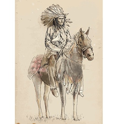 Indian chief sitting on a horse vector