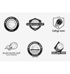 Set of vintage basketball championship logos and vector