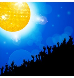 Disco ball with crowd over blue glowing background vector