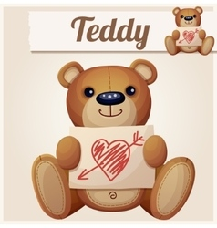 Teddy bear with valentines day greeting card vector