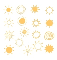 Set of hand-drawn sun icons vector image