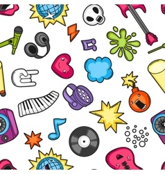 Music party kawaii seamless pattern musical vector