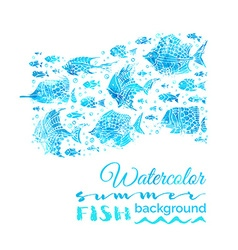 Watercolor summer fish background vector
