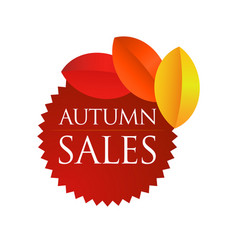 Autumn sales - brown round emblem vector