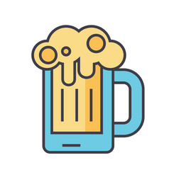Beer glass pint drink pub concept line vector