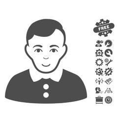 Boy Icon With Tools Bonus vector image vector image