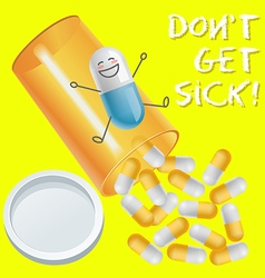 capsule with face expression and pill bottle spill vector image