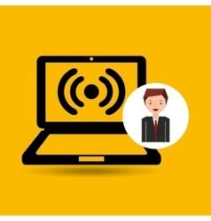 Cartoon man laptop connected wifi vector