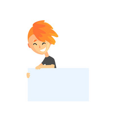 cartoon teenager boy holding white sign with space vector image