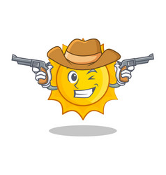 Cowboy cute sun character cartoon vector