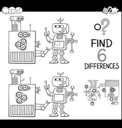 differences with robots coloring page vector image