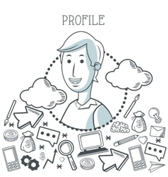 Doodle icon design profile icon draw concept vector