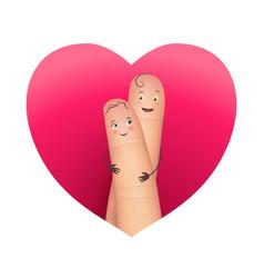 Finger copule in love hugging vector