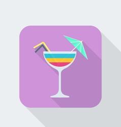 flat style cocktail icon with shadow vector image