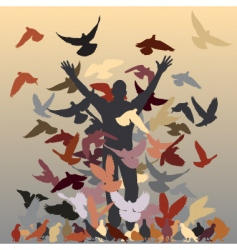 flock of pigeons vector image vector image