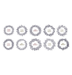 floral round wreaths set hand drawn frames vector image