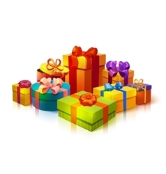 Gift boxes pile composition vector