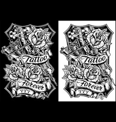 Graphic black and white tattoo machine and roses vector