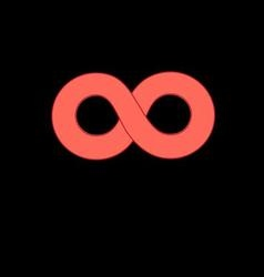 Graphic red infinity sign on a black background vector image