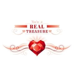 Happy Valentines day border ruby gem treasure vector image