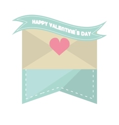 Happy valentines day card envelope blue ribbon vector