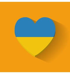 Heart-shaped icon with flag of Ukraine vector image