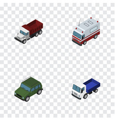 Isometric transport set of freight lorry first vector