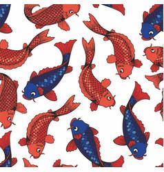 Koi carps seamless pattern on white vector