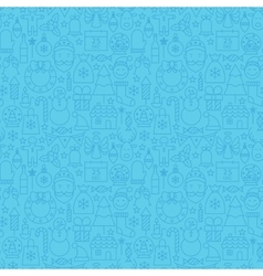 Line christmas blue seamless pattern vector