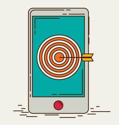 mobile marketing and targeting smartphone with vector image