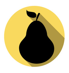 pear sign flat black icon vector image