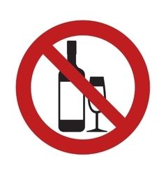 Prohibited bottle glass cup drink beverage sign vector