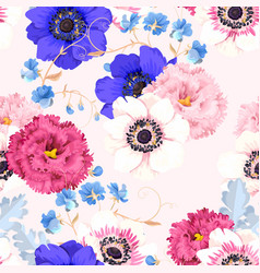 Seamless pattern with eustoma and anemones vector