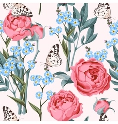 Seamless peony and forget-me-not vector