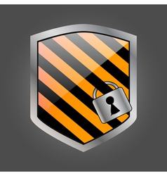 Security shield with lock 3 vector image