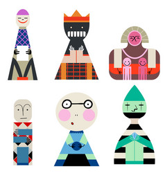 set of dolls from shapes abstract human vector image