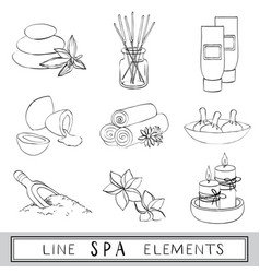 Set of line spa icons sketch vector
