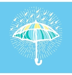 Umbrella with rain drops and sunburst vector image