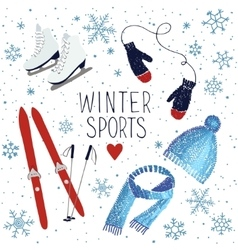 Winter sports and activities vector