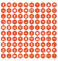 100 smart house icons hexagon orange vector